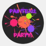 Pintura colorida de las salpicaduras del fiesta de etiquetas redondas