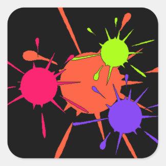 Pintura colorida de las salpicaduras del fiesta de pegatina cuadrada