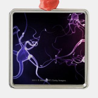 Pintura colorida de neuronas adorno navideño cuadrado de metal