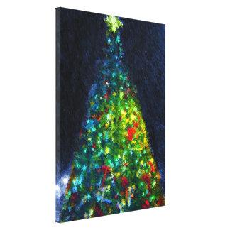 Pintura colorida del árbol de navidad lona envuelta para galerias