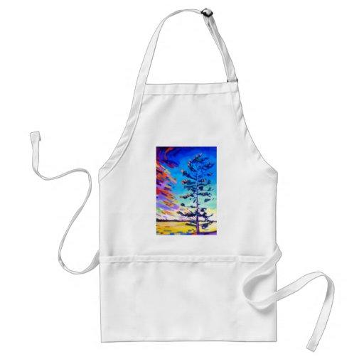 Pintura colorida del árbol de pino delantales