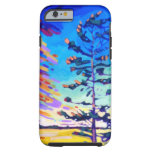Pintura colorida del árbol de pino funda de iPhone 6 tough