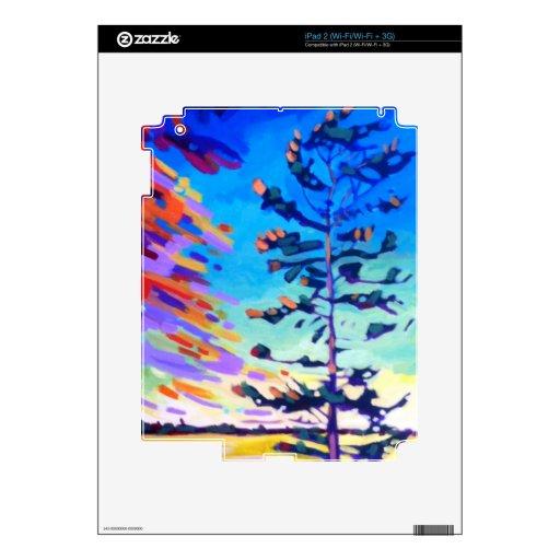Pintura colorida del árbol de pino skins para eliPad 2