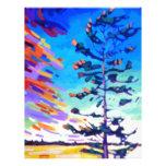 Pintura colorida del árbol de pino plantilla de membrete