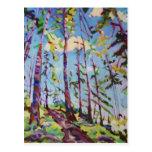 Pintura colorida del bosque postal