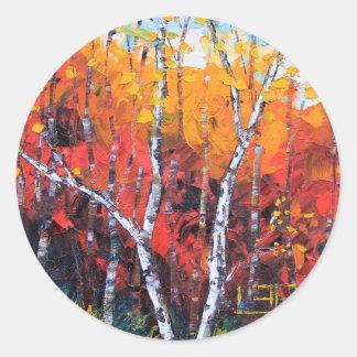 Pintura colorida del cuchillo de paleta de la pegatina redonda