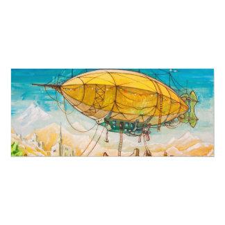 """Pintura colorida del dirigible no rígido invitación 4"""" x 9.25"""""""