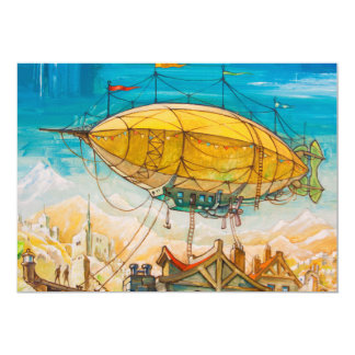 """Pintura colorida del dirigible no rígido invitación 5"""" x 7"""""""