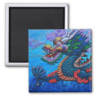 Pintura colorida del dragón del aceite chino orien imán de nevera