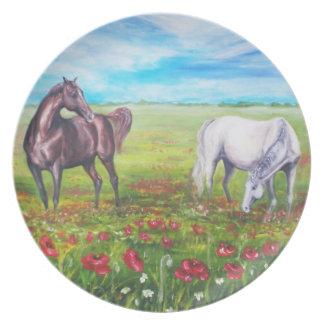 pintura con los caballos plato