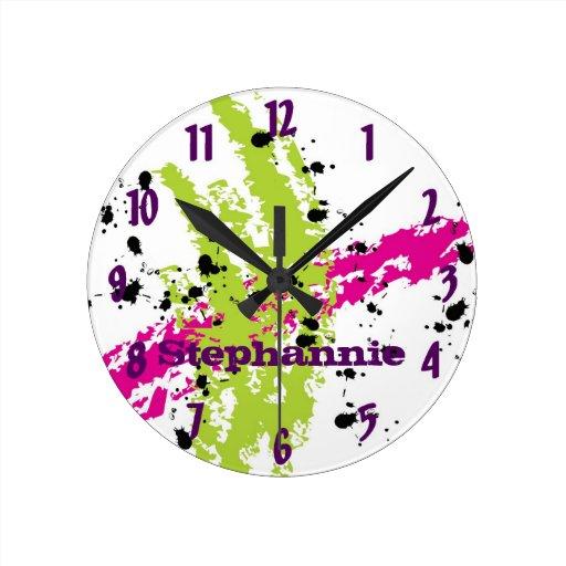 Pintura conocida personalizada de la verde lima reloj redondo mediano