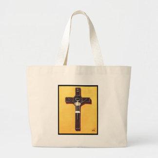Pintura cristiana del crucifijo bolsas
