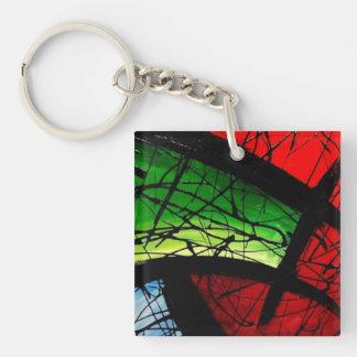 Pintura cuadrada abstracta verde enrrollada llavero cuadrado acrílico a doble cara