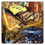 Pintura cubista del guitarrista en deslizadores reloj de pared