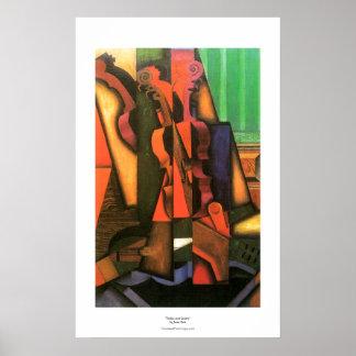 Pintura cubista del violín y de la guitarra del ar póster