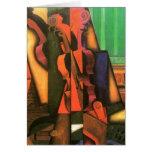 Pintura cubista del violín y de la guitarra del ar tarjeta