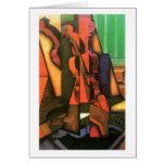 Pintura cubista del violín y de la guitarra del ar tarjeton