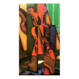 Pintura cubista del violín y de la guitarra del ar tarjetas de visita