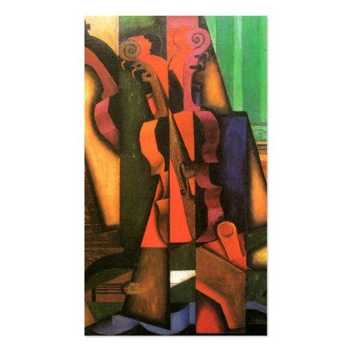 Pintura cubista del violín y de la guitarra del ar plantilla de tarjeta de negocio