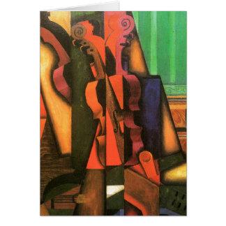 Pintura cubista del violín y de la guitarra del ar tarjeta de felicitación