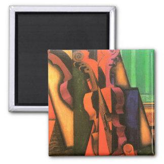 Pintura cubista del violín y de la guitarra del imán cuadrado