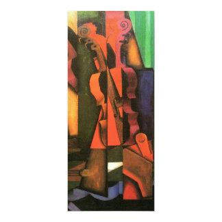 """Pintura cubista del violín y de la guitarra del invitación 4"""" x 9.25"""""""