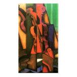 Pintura cubista del violín y de la guitarra del tarjetas de visita