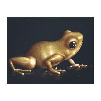 Pintura curiosa de la rana impresiones en lona