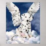 Pintura dálmata del ángel del perrito de la impres poster