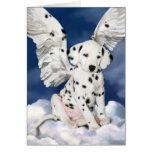 Pintura dálmata del perrito del ángel de la tarjet felicitación