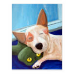 Pintura de abrazo roja de la rana de Heeler Tarjeta Postal