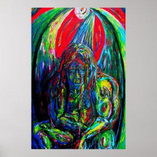 Pintura de aceite coa alas Fi de la criatura de Sc Póster