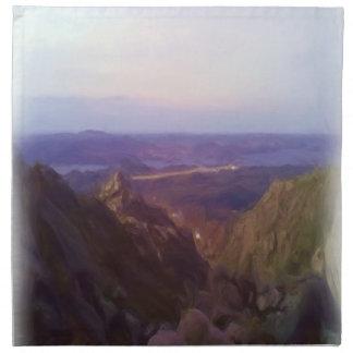 Pintura de aceite de la naturaleza y de la montaña servilleta