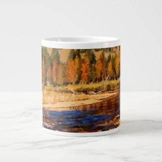 Pintura de aceite impresionista de la corriente de taza extra grande