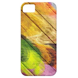 Pintura de acrílico colorida en la madera #10 iPhone 5 funda