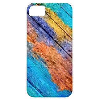 Pintura de acrílico colorida en la madera #3 funda para iPhone 5 barely there
