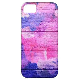 Pintura de acrílico colorida en la madera #5 iPhone 5 funda