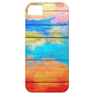 Pintura de acrílico colorida en la madera iPhone 5 funda