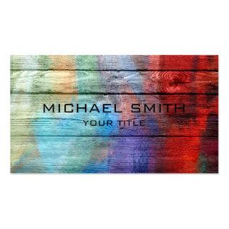 Pintura de acrílico colorida en la madera tarjetas de visita