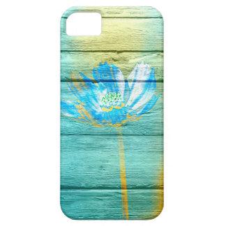 Pintura de acrílico de la flor en la madera iPhone 5 fundas