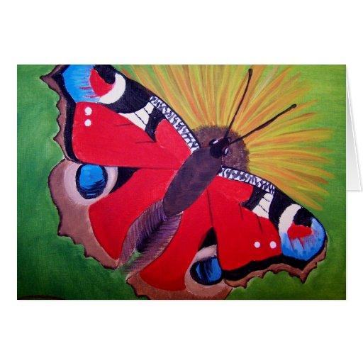 Pintura de acrílico de la mariposa de pavo real tarjeton
