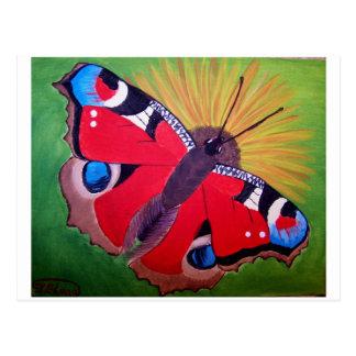 Pintura de acrílico de la mariposa de pavo real tarjeta postal
