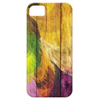 Pintura de acrílico del arte de madera funda para iPhone 5 barely there