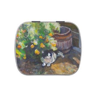 Pintura de acrílico del gato rústico frascos de caramelos