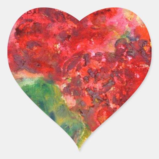 Pintura de acrílico del geranio rojo pegatina en forma de corazón