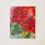Pintura de acrílico del geranio rojo rompecabeza