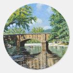 Pintura de acrílico del paisaje de la primavera de pegatina redonda