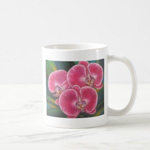Pintura de acrílico del Phalaenopsis de las flores Taza