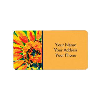 Pintura de acrílico del solo girasol colorido etiqueta de dirección