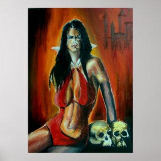 Pintura de acrílico del Vampirella. bochornoso Poster